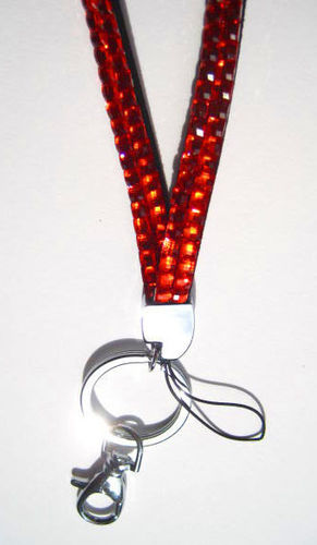 SALE - Orange Rhinestone Lanyard